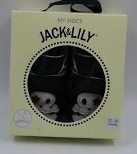 Jack & Lily My Mocs Baby Boy Black White Skull Moccasins Shoes Size 30-36 Mo NEW