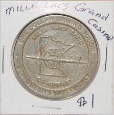 $1 Mille Lacs Band of Ojibwe Grand Casino Dollar Gaming Slot Token Minnesota