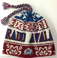 NWT NHL Colorado Avalanche Reebok Cuffless Tassel Knit Hat Beanie Cap NEW OSFA