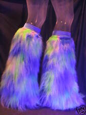 UV CAMO FLUFFY LEGWARMERS FURRY BOOT COVERS RAVE