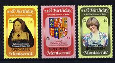 MONTSERRAT 1982 PRINCESS DIANA 21st SET 3 OVERPRINTED SPECIMEN MNH