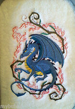 CROUCHING DRAGON SET OF 2 HAND TOWELS EMBROIDERED