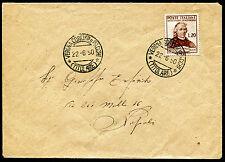 1950 - Lettera da Verona a Napoli con Lire 20 Muratori n.625 in uso singolo