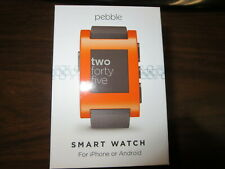 Pebble Smart Watch for iPhone or Android, Orange Color, Model 301OR - New