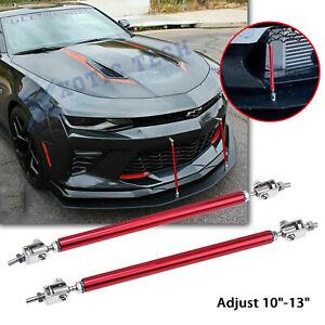 "Adjust 10""-13"" Red Sport Bumper Strut Rod Tie Splitter Bars Lip For Chevy Camaro"