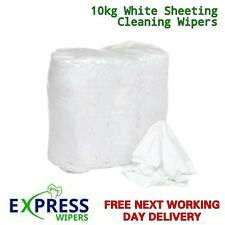 More details for 10kg white cotton sheet lint-free industrial cleaning rags wipers wiping cloths