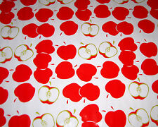 Red APPLE Oilcloth Material Fabric Kitchen Picnic Table BBQ Teacher Craft Projec