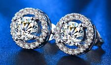 Sterling Silver CZ Cubic Zirconia Stones 8mm Round Halo Stud Earrings Box