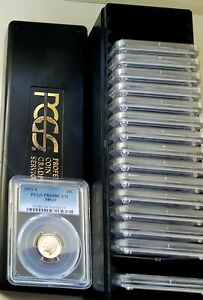 Collection of Silver Proof Roosevelt Dime 1992 to 2009 (18 Coin) PCGS PR69 DCAM