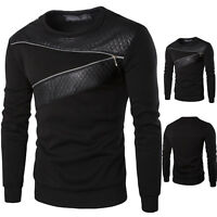 Mens Long Sleeve Sweatshirt Muscle T-shirt Zipper Casual Sweater Pullover Tops
