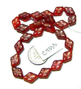 Czech Glass Diamond Bead  RED Lot of 24 WYSIWYG C4333