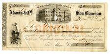 1854.   San Francisco.   Adams & Company Express & Banking Office Check/ CD.