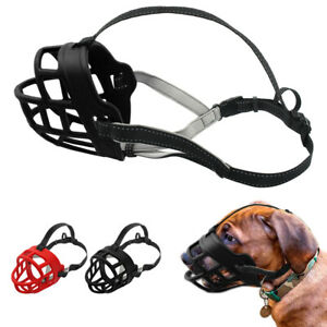 Leather Dog Muzzle Mouth Cover Anti Barking Biting Chewing Cage for Small Large
