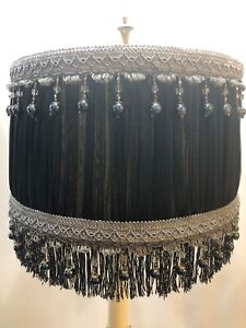 lamp shade black gold silver  beaded fringed vintage styled