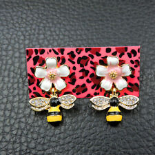 Yellow Bee Earrings Fashion Jewelry New Betsey Johnson Rare Alloy Rhinestone