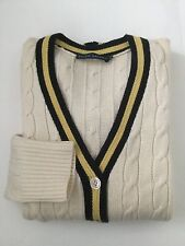 POLO RALPH LAUREN 100% CASHMERE CREAM NAVY/GOLD STRIPE TRIM CABLE LONG CARDIGAN