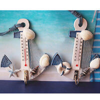 Wood Anchor Thermomete Craft Art Wall Hanging Hook Gauge Shell Nautical Decor Je