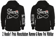 Hoodie Pullover Sister Sister Motiv Partner Look Geschenk One Love XS - 5XL New