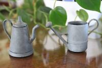 Miniature Metal Watering Can and Lidded Kettle
