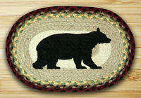 CABIN BEAR 100% Natural Braided Jute Oval Swatch Trivet/Placemat by Earth Rugs