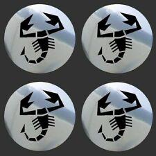 4 adhésifs sticker chrome ABARTH de 40 à 100 MM centre de jantes ( FIAT )