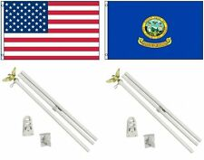 3x5 Usa American & State of Idaho Flag & 2 White Pole Kit Sets 3'x5'