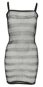 Damen Netz-Kleid Minikleid Partykleid transparent gestreift sexy schwarz
