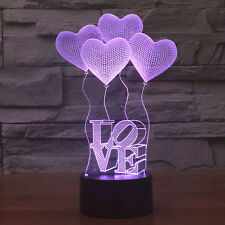 LOVE Heart 3D LED Night Light Touch Switch Table Desk Lamp 7 Color Wedding Decor