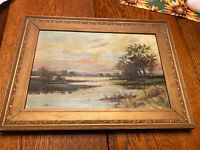 Antique Signed Artist Repo Of Carl Weber's Sunset Oil Painting On Canvas, Pinney