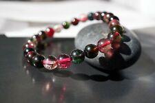 Natural Toumaline Beaded Bracelet 7mm Multicolor October Birthstone For Her