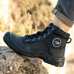 Mens Safety Boots Leather Trainers Steel Toe Cap Work Shoes Hiking Outdoor Size