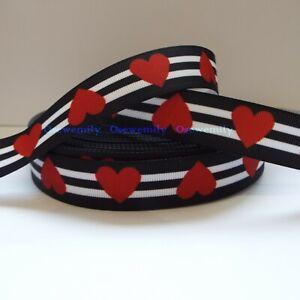 Per Metre - Black/ White Heart Stripe 22mm - Printed Grosgrain Ribbon /Cake/ Bow