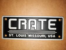 Large Metal Crate Amplifier Badge - Made In Usa - Used