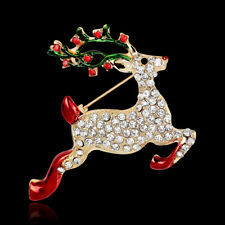 Plated Celebration Pin and Brooch Christmas Running Deer Rhinestone Crystal Gold
