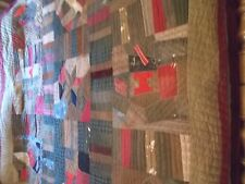 """ANTIQUE """"1894"""" OLD MATERIAL ASSORTED BLOCK PATTERN QUILT 74"""" X 78"""" Old Batting"""