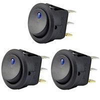3 Piezas 12V 20A Interruptor Basculante de LED Interruptor de Luz Azul Cont N1H7