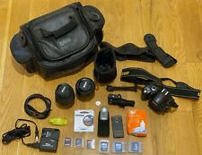 Nikon D40 with 18-55 and 35mm prime lens SD camera bag tripod remote filter
