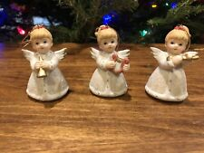 Christmas Angels With Musical Instruments Vintage Homco 5414 Porcelain