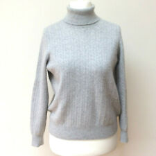 M&S Women Cashmere Jumper Sweater Sz 10-12 Grey Roll Neck Ribbed Autograph FLAW
