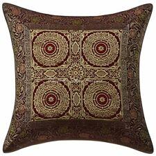 Indian Brocade Throw Pillow Cover Burgundy 16 x 16 Jacquard Mandala Cushion 1 Pc