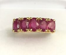 14k Solid Yellow Gold One Row Band Ring, Natural Ruby 2.5TCW. Sz 6.75