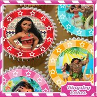 24 x COLOURFUL MOANA & MAUI EDIBLE CUPCAKE TOPPERS ON PREMIUM RICE PAPER MOb