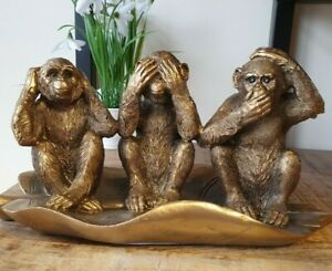 3 Monkeys See Hear Speak No Evil Bronze Coloured Ornament