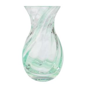 Glass Vase Small Clear Light Green Stripe