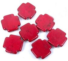 25mm Red Turquoise Cross Beads (7 pcs)