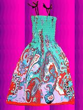 126✪  70er Jahre buntes Indian Gipsy Paisley Muster Midi Kleid Hippie Boho mint