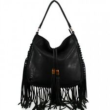 New Ladies Tassels Handbag Laidies Celebrity Style Army Black Bag Girls tote bag