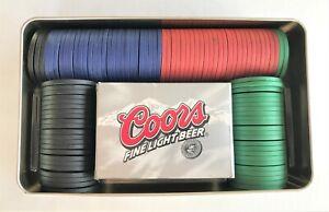 Coors Light Beer Promotional Poker Set 1 Pack of Cards 100 Poker Chips Complete