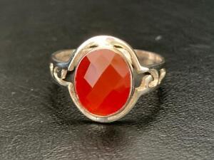 Sterling Silver Carnelian Ring Large Orange Gemstone Solitaire Stack Sz 6 7 9