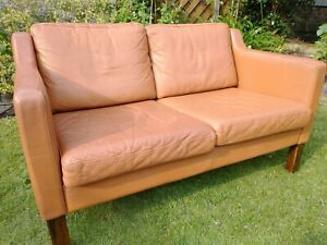 Vintage Danish style tan leather 2 seater small sofa